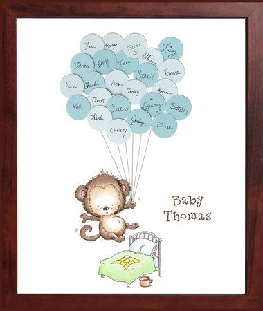 baby shower sign in guest book print monkey jumping on the bed