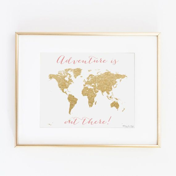 World map wall art world map art print instant download travel map adventure is out there gold world map digital printable art instant download print gold gumiabroncs Gallery