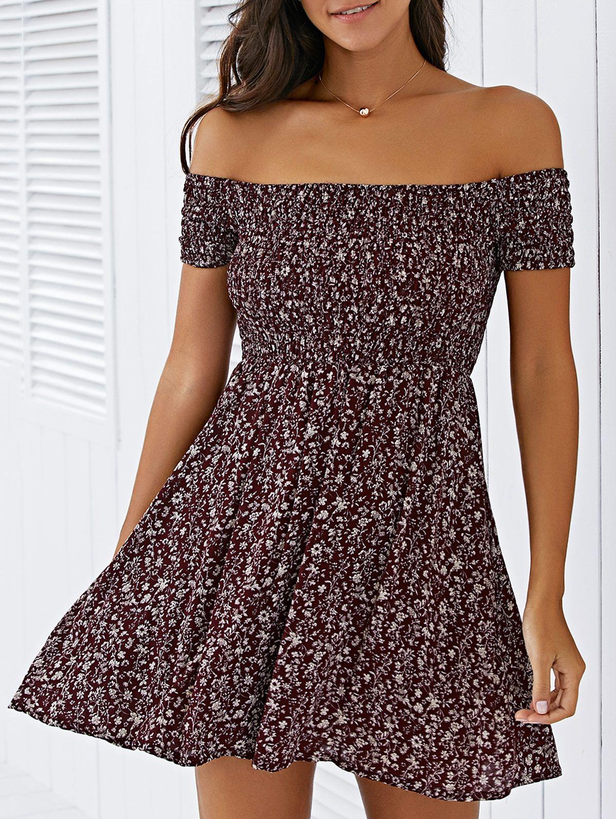 4b4b6d025a43 Tiny Floral Print Elastic Waist Off The Shoulder Dress - WINE RED S