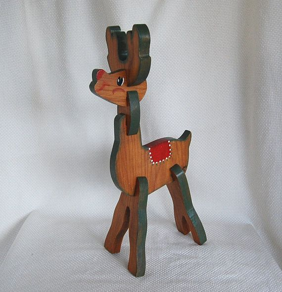3 Dims Are 8 L X 4 75 W 19 H Vintage Wood Sleigh And Red Nosed Reindeer Wooden Christmas Decorations