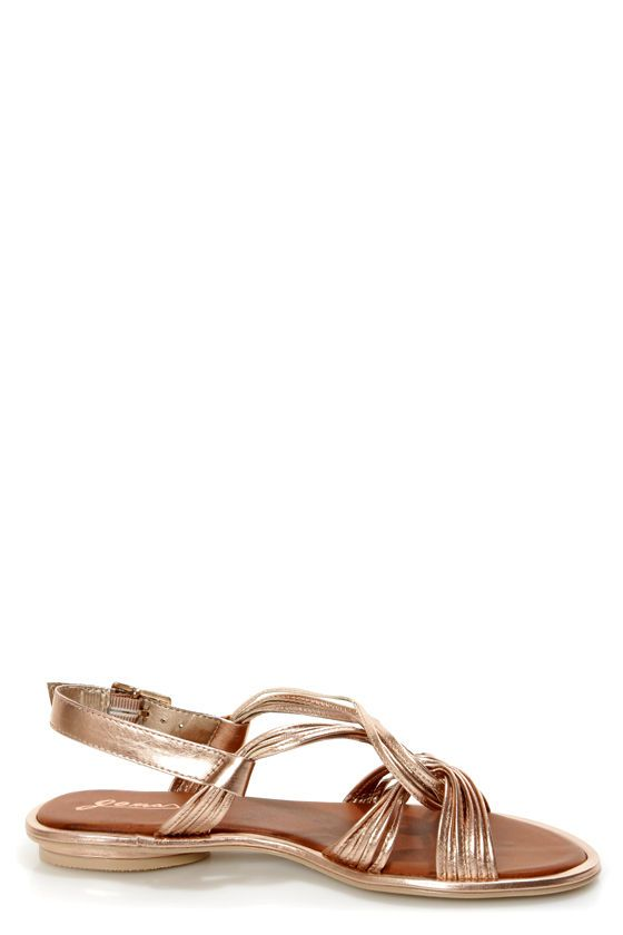 5fe3d9cdff9 GoMax Kitty Corner 12 Rose Gold Strappy Flat Sandals at LuLus.com!