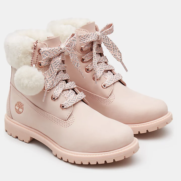 in for PinkTimberland Women Shearling 6 Boot Inch 3qjSc5A4RL