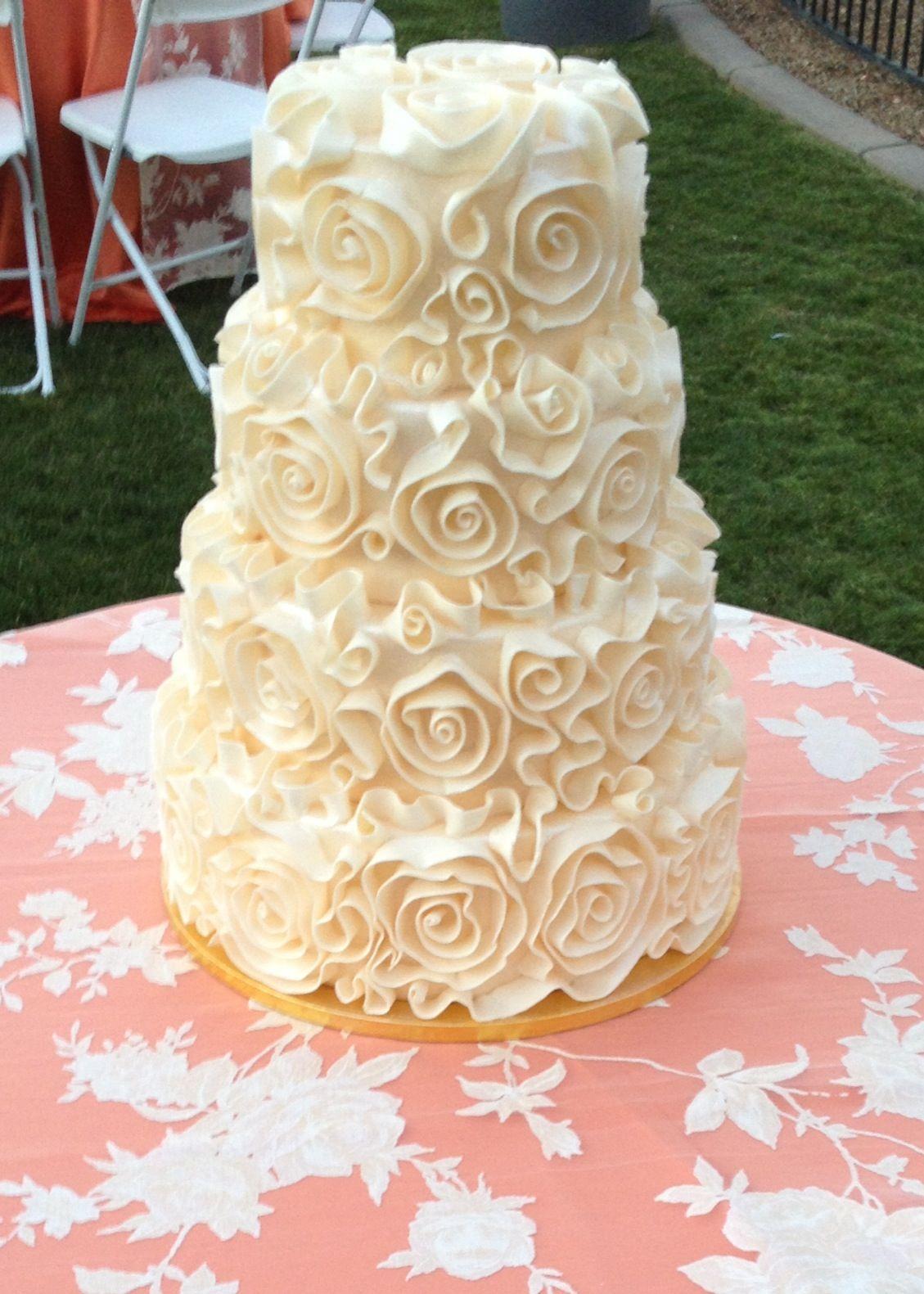 Fondant rosette wedding cake by My Sisters Cakes in Gilbert, AZ ...