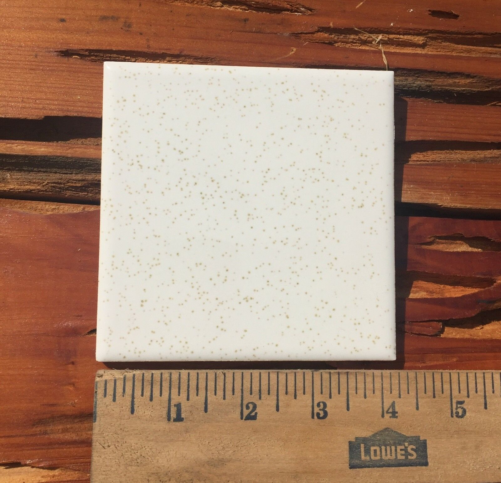 """Vintage Ceramic Wall Tile 4 1//4/"""" White Gold Speckle Reclaimed Glossy 1 each"""