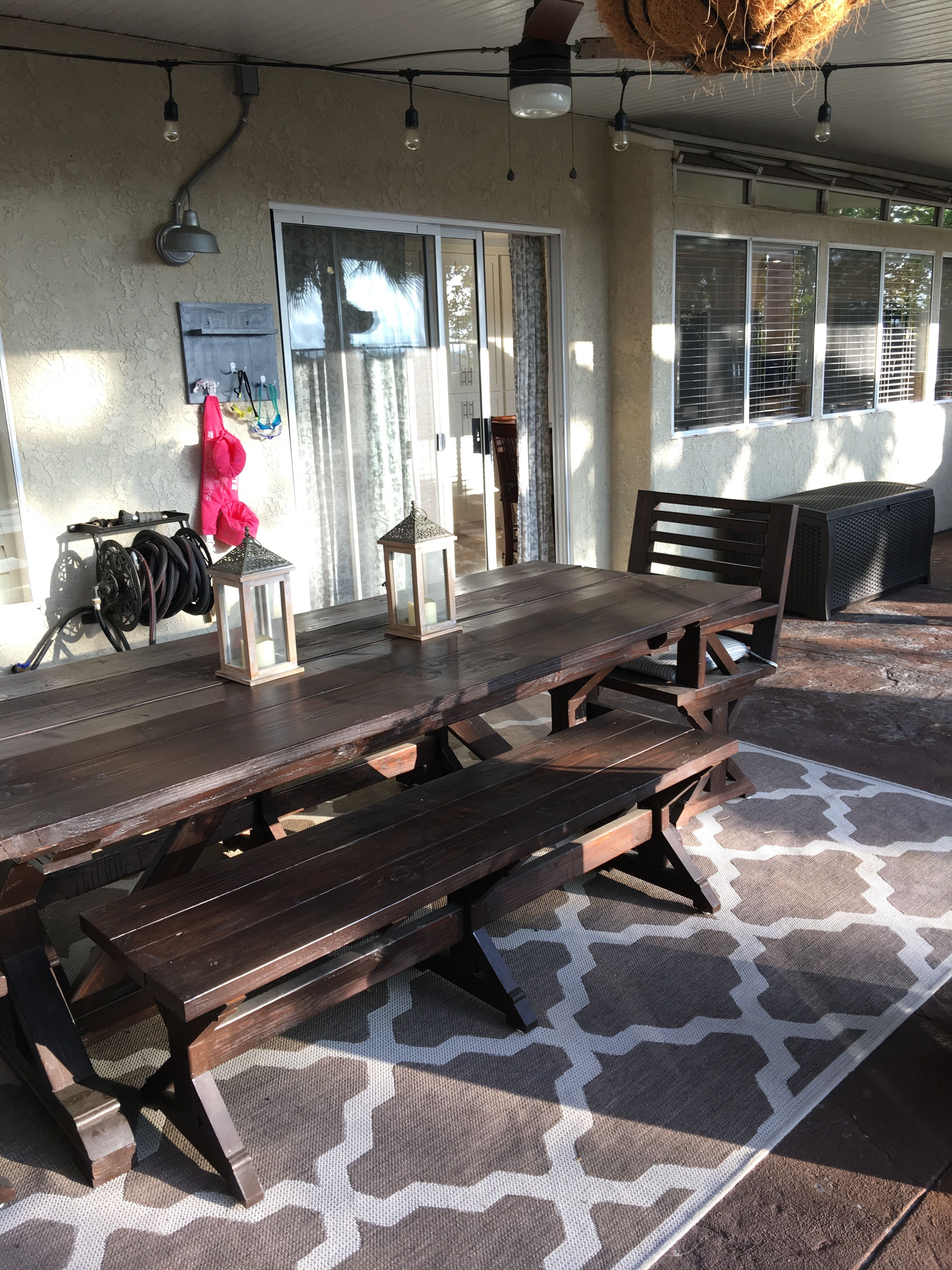 Diy 8 feet long patio table with chairs chestnut stain