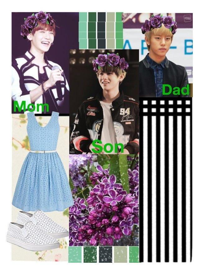 """Cute Family_ Daehyun, Baekhyun and V"" by ninaxo17 on Polyvore featuring Kess InHouse, Yumi and Steve Madden"