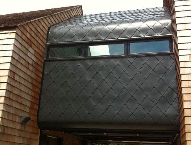 Beautiful Diamond Aluminum Shingles Gracefully Curve From Roof To Wall Cladding Cedar Cladding Aluminum Shingles