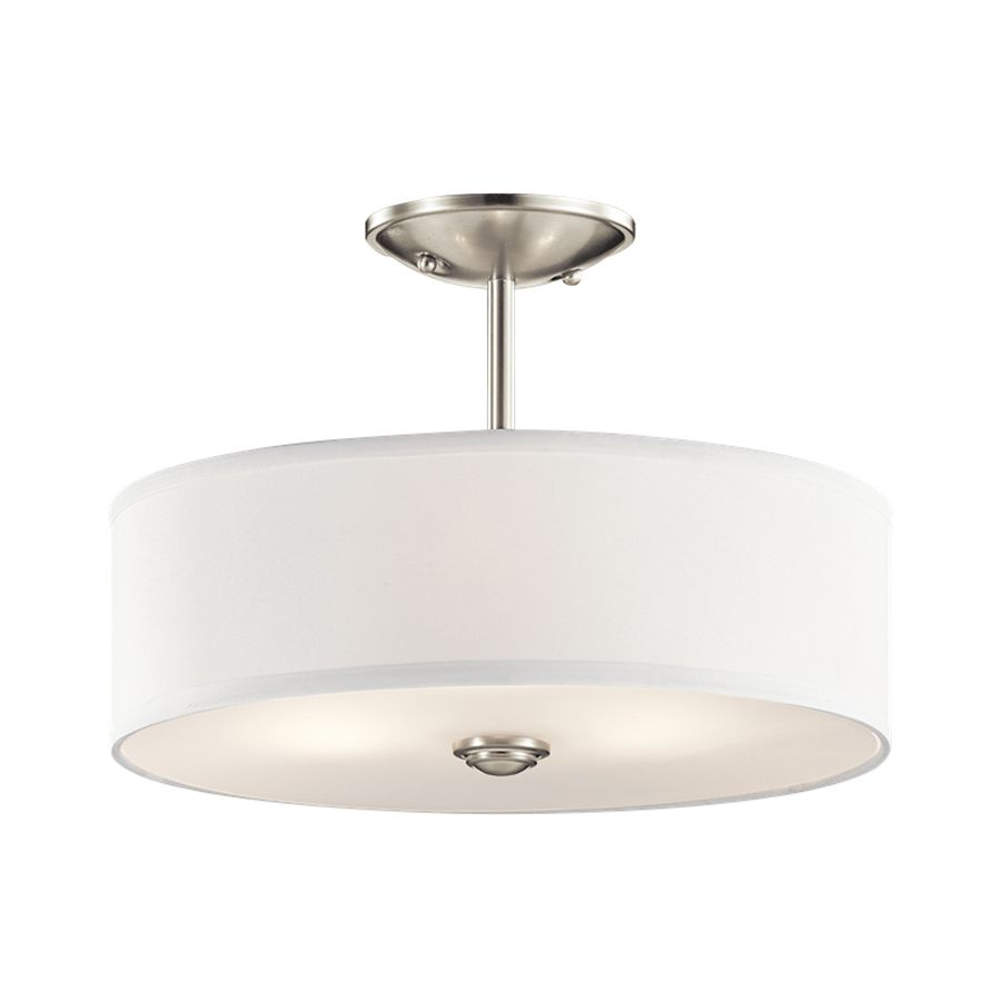 Kichler Lighting Shailene 14 In W Brushed Nickel Fabric Semi Flush