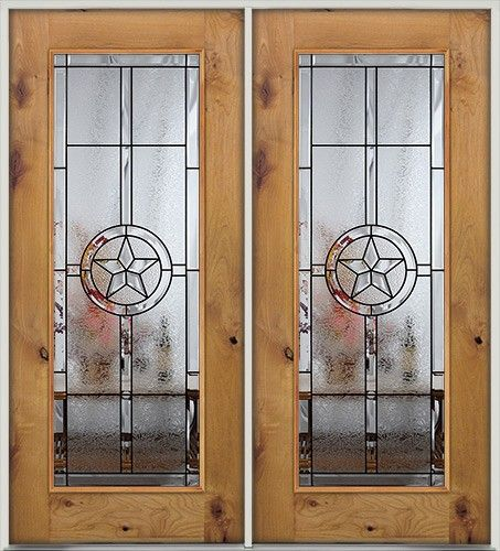 Full Lite Texas Star Knotty Alder Wood Entry Double Door. Great For Texans  Near And