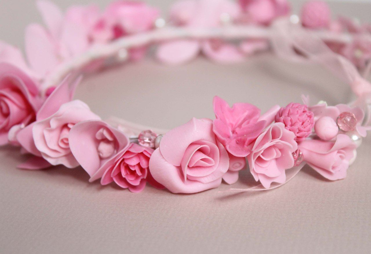 Flower Girl Floral Crown Pink Flowers Bandeau Chaplet Of Roses