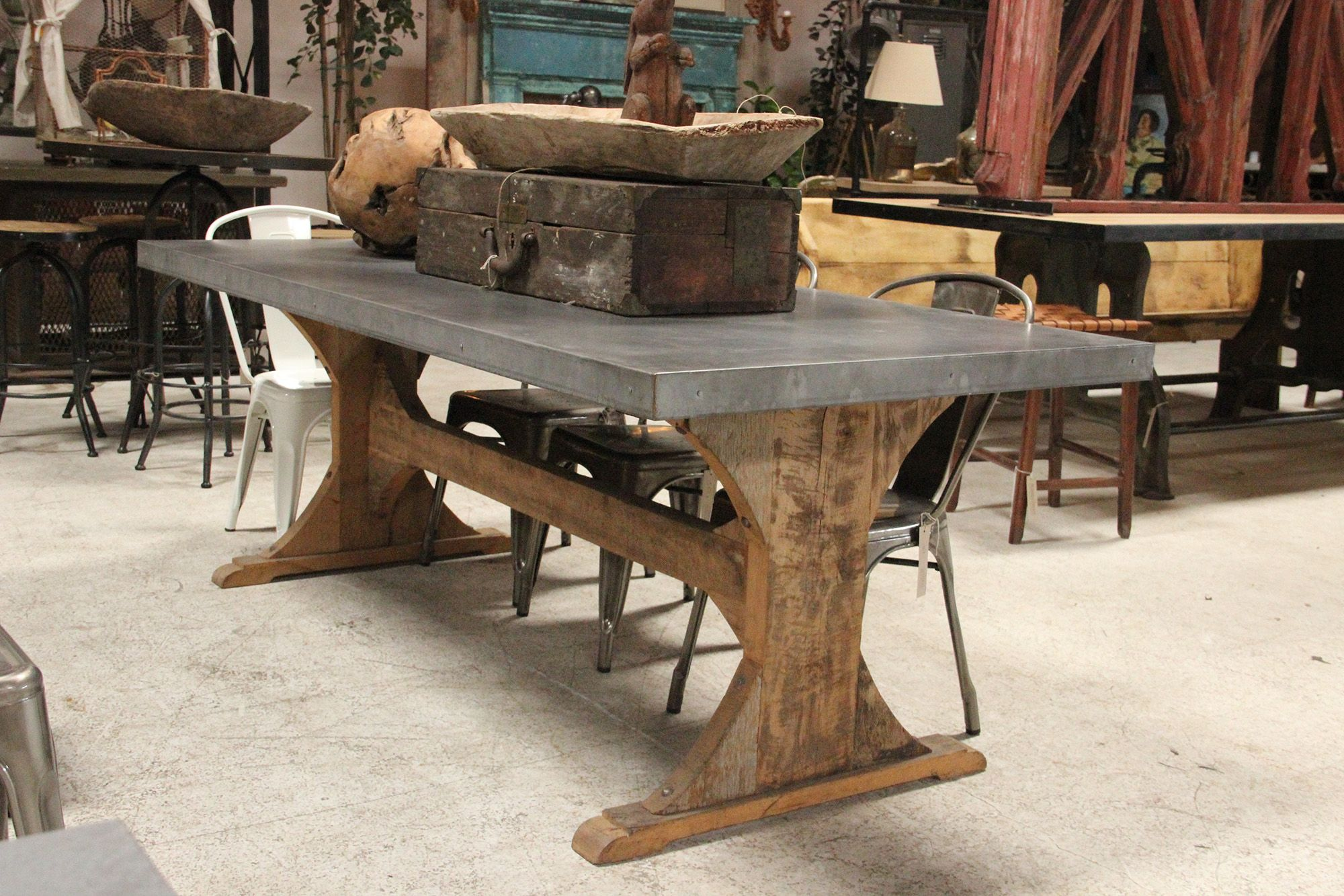 Zinc Dining Table Care Flea Market Primitive Style Trestle Dining Tables Table Furniture Dining Table