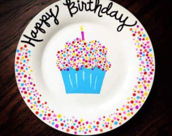 BIRTHDAY PLATE Cupcake plate, cake plate, 1st birthday, happy birthday plate, personalized birthday #ceramicpainting