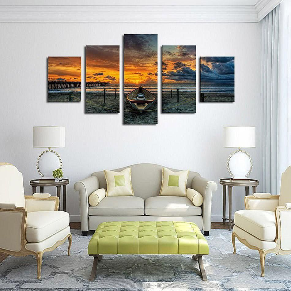 HD 5 piece canvas art Print painting Seascape And Boat With HD Large ...