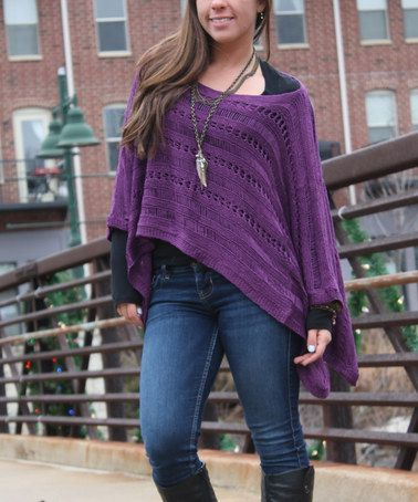 Lazy Daisy Purple Poncho Sweater | Poncho sweater, Ponchos and Purple