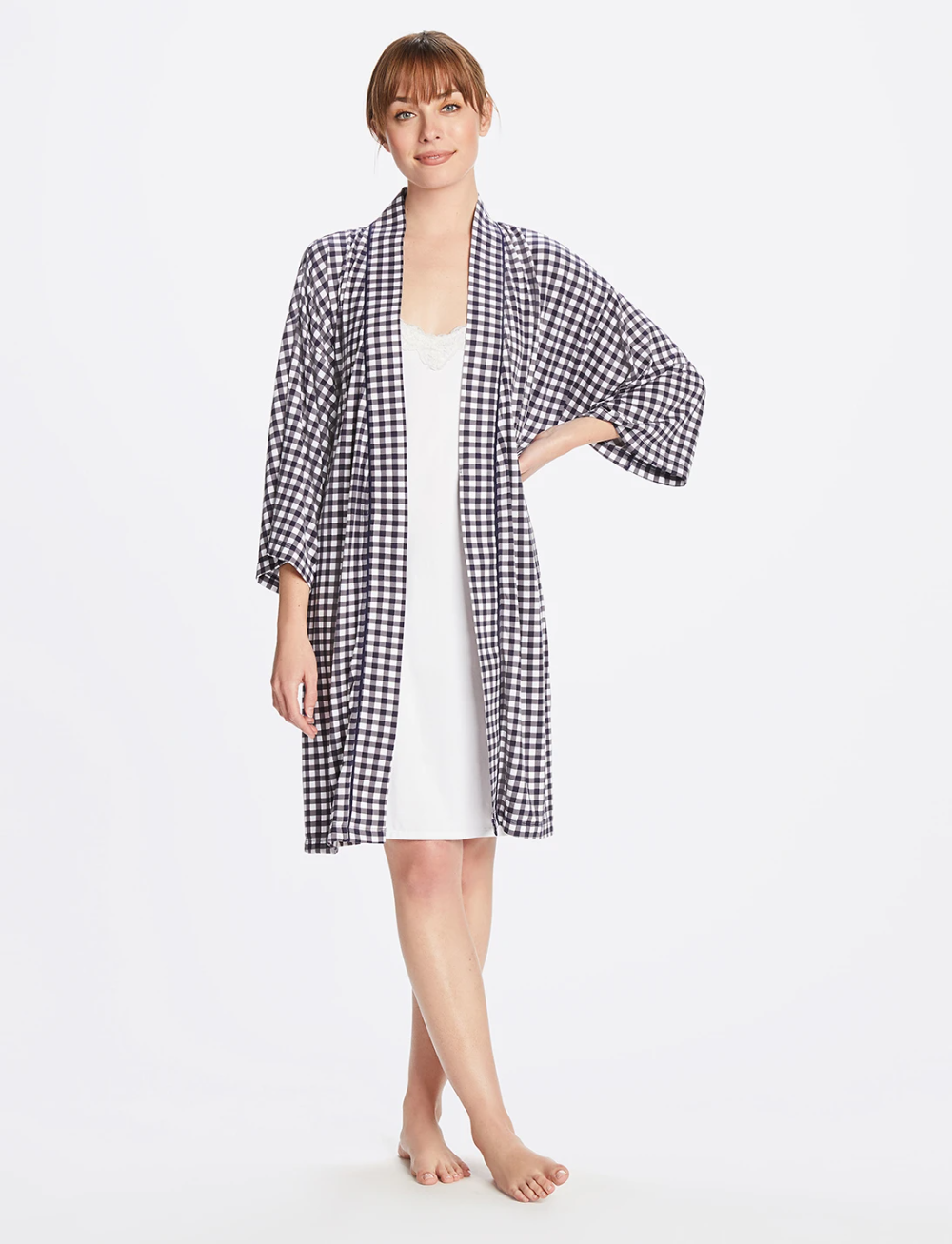 Louise Robe In Gingham In 2020 Gingham Lounge Wear Select Fashion