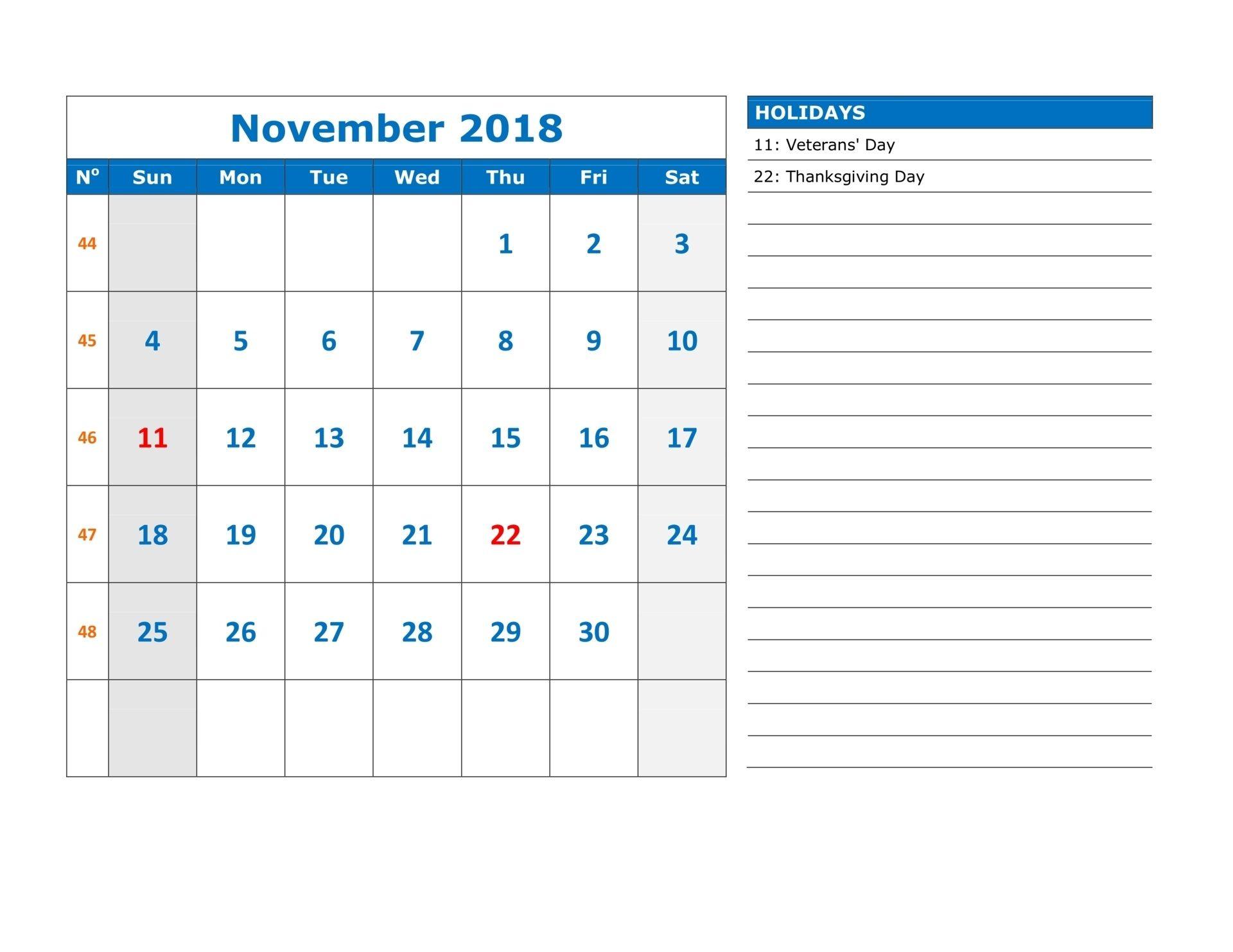November 2018 Calendar With National Holidays November 2018