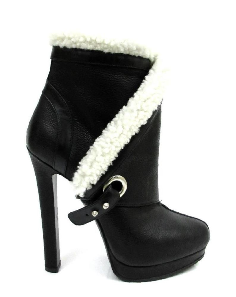 eaed3e32147259 ALEXANDER MCQUEEN BLACK GRAINED LEATHER SHEARLING TRIMMED ANKLE BOOTS  SZ.38-NWOB