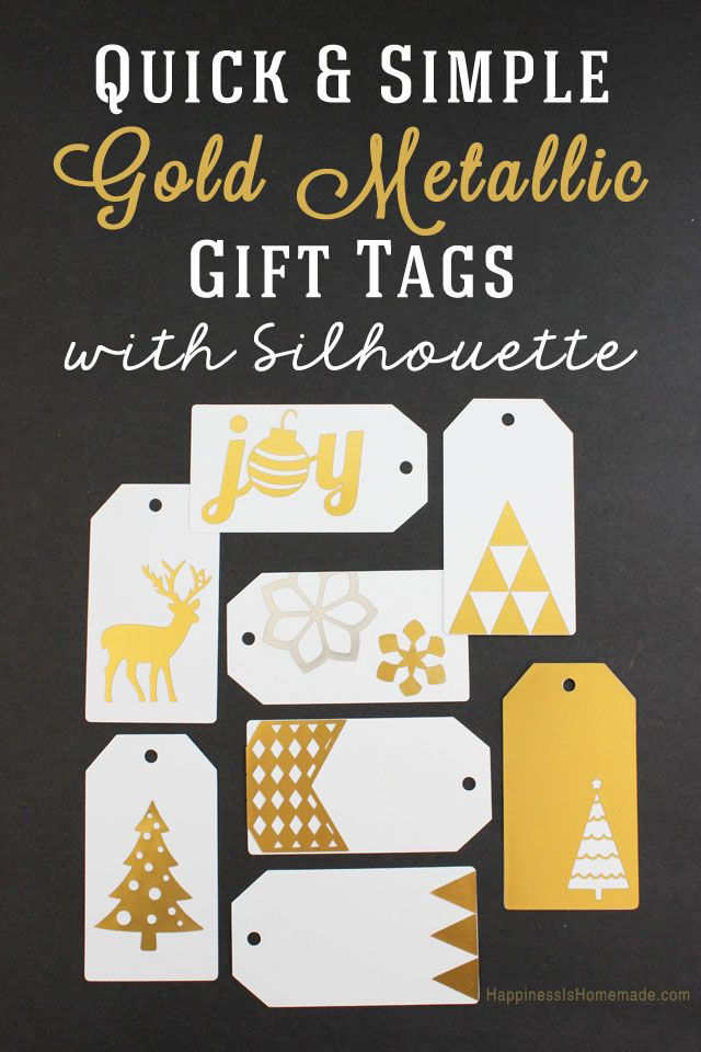 Easy Gold Metallic Gift Tag Tutorial & HUGE Black Friday Silhouette Promotion - Happiness is Homemade
