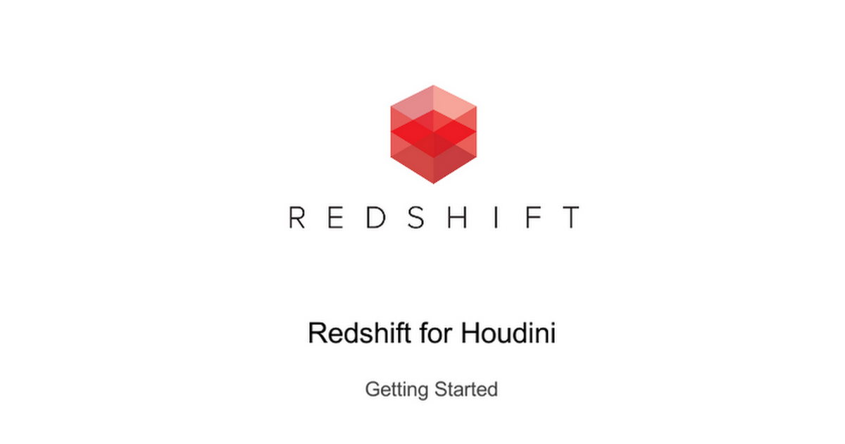 Redshift for Houdini Getting Started INDEX Plugin