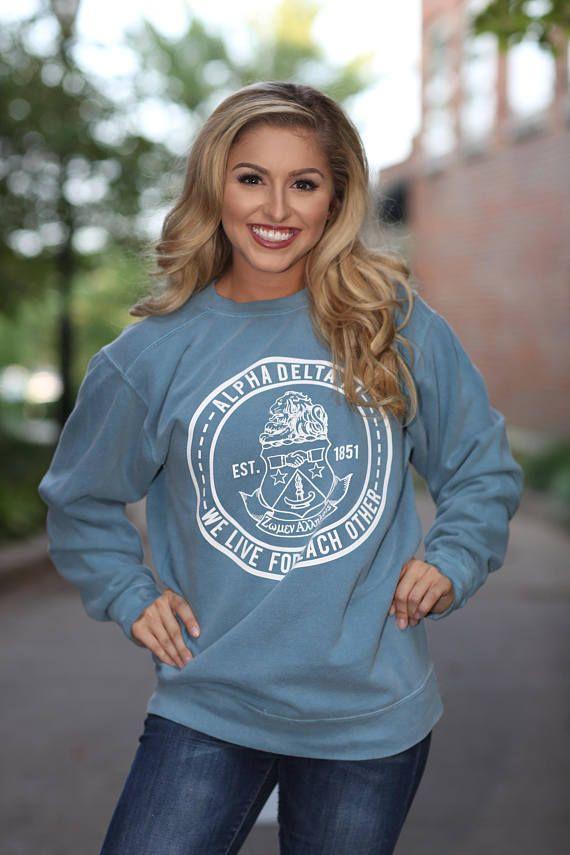 Alpha Delta Pi Comfort Color Crewneck Sweatshirt - ADPi Letter Shirt - Comfort Color Oversized Shirt bcTgn