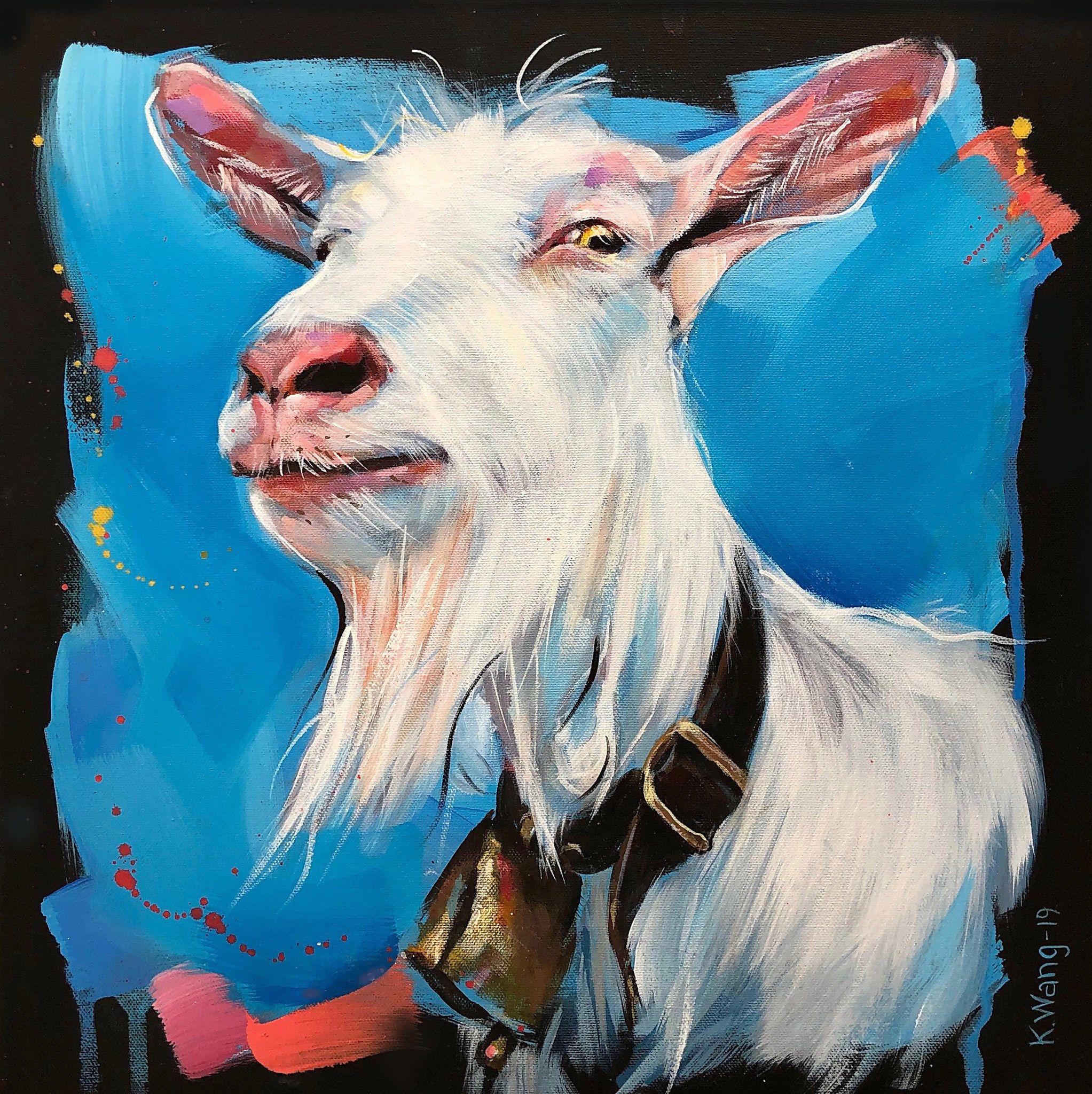 3 Lykkelige Geiter Kari Wang Maleri Maleri Malekunst Tegning Kunst