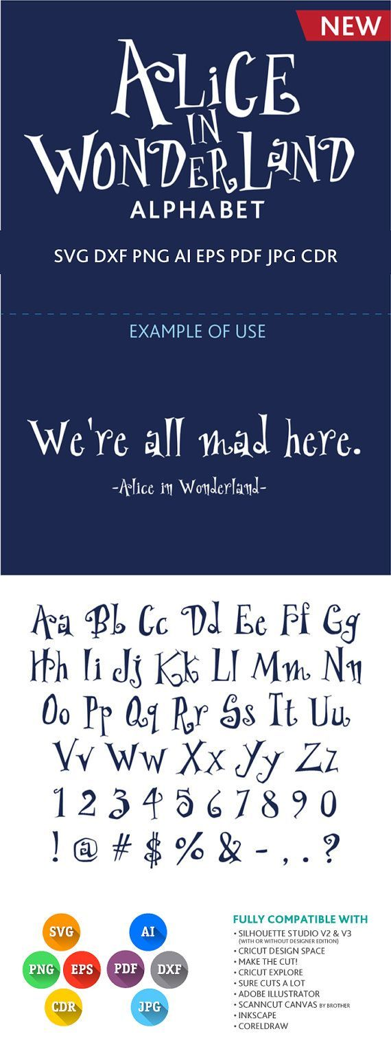 Alice in wonderlandschrift cuttable alphabet svg dxf von premiumsvg