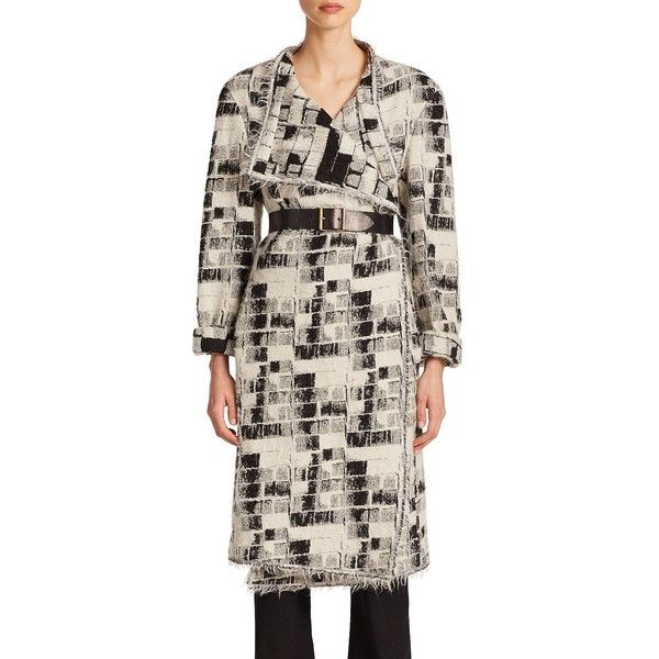 Donna Karan Belted Blanket Coat featuring polyvore, fashion, clothing, outerwear, coats, apparel & accessories, leather coat, leather fringe coat, fringe coat, donna karan and donna karan coat