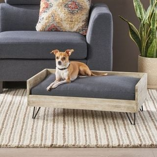 Bonneville Mid Century Modern Pet Bed With Acacia Wood Frame By