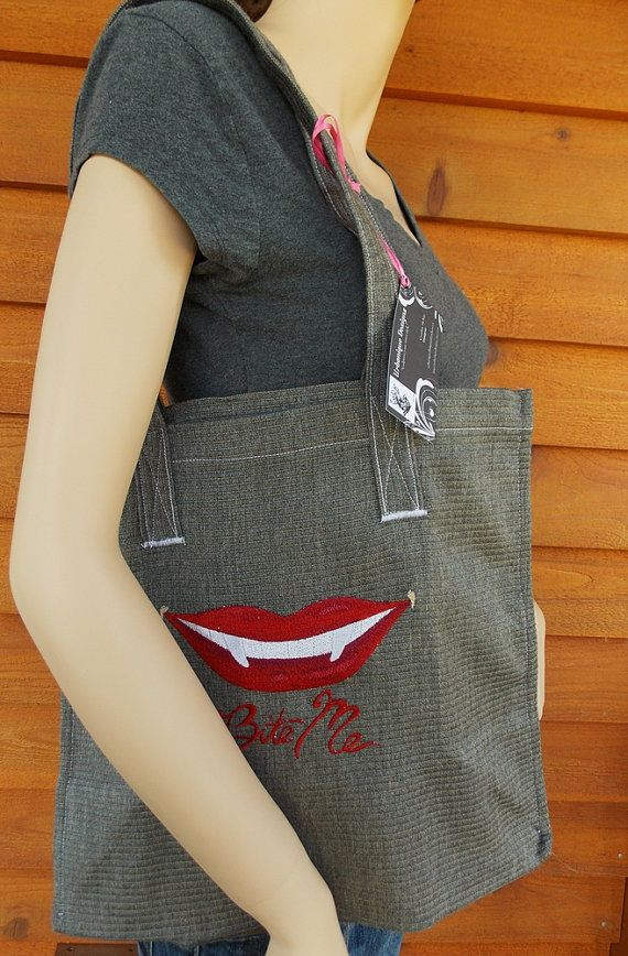 bite me !! Vampire embroidered handmade shopping tote