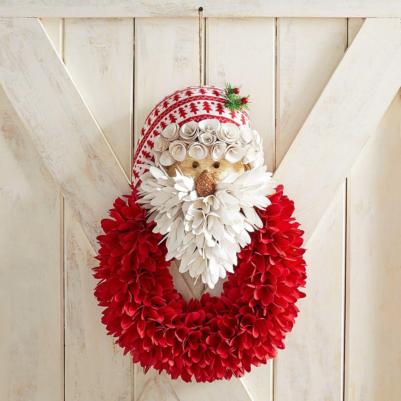Santa Wood Curl Door Hanger Amp Wreath Pier Imports Burlap Christmas Mesh