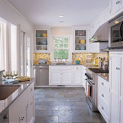 White kitchen slate floor interior design decor for Stone kitchen floor ideas
