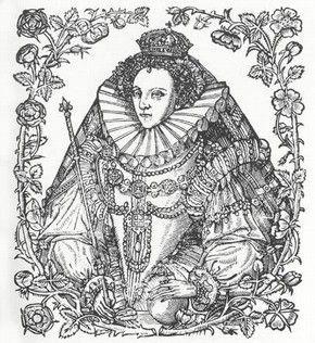 Elizabeth I flanked by Tudor Roses and Eglantine, 1588