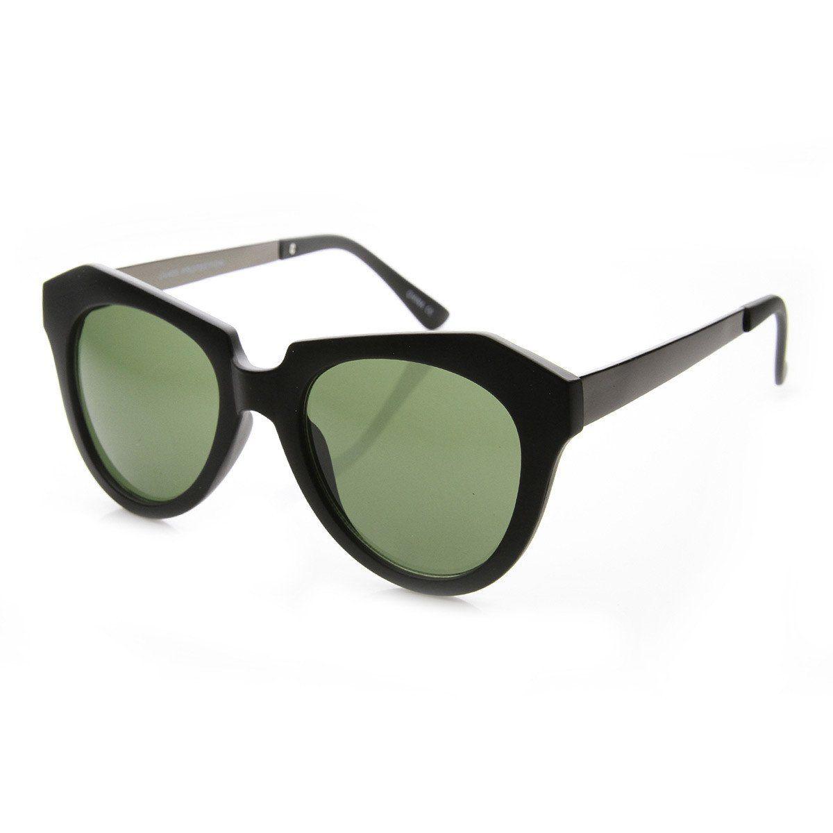 Modern Thick Cat Eye / Horn Rimmed Cross Sunglasses Edgy Retro Style Eyewear