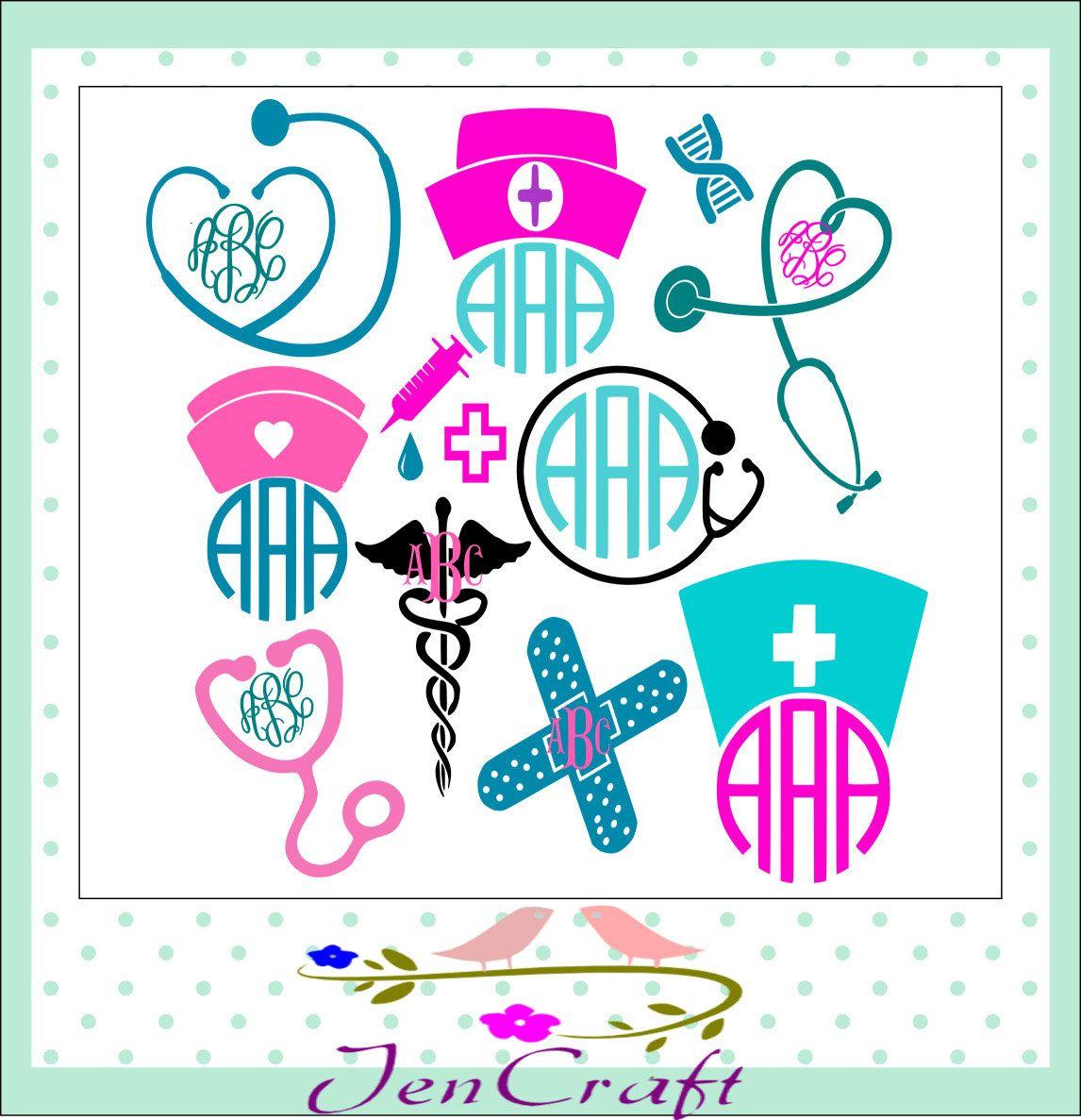 nurse svg stethoscope svg eps png dxf cut file set for cricut