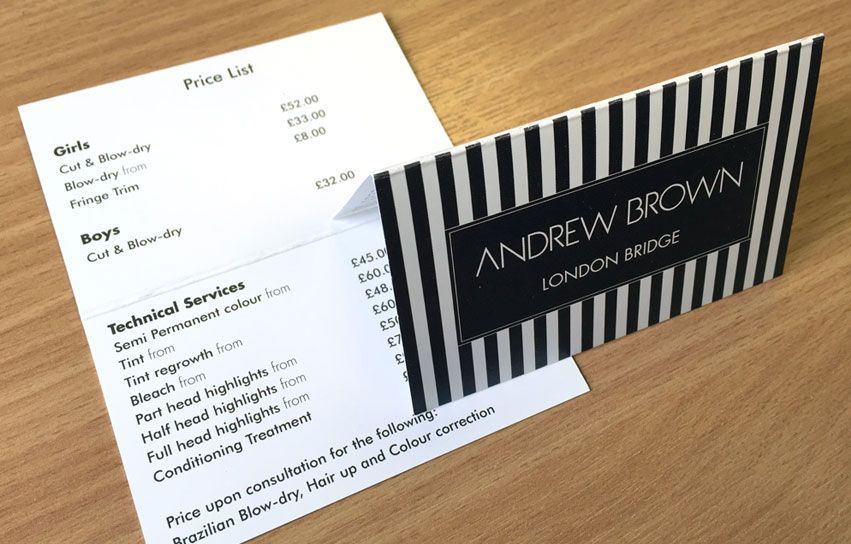Appointment card, price list and business card designed and printed