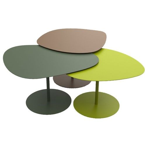 tables basses gigogne 3 galets matiere grise kaki anis | furniture