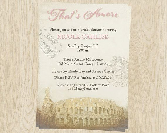 bridal shower invitations pink italy theme by theinviteladyshop