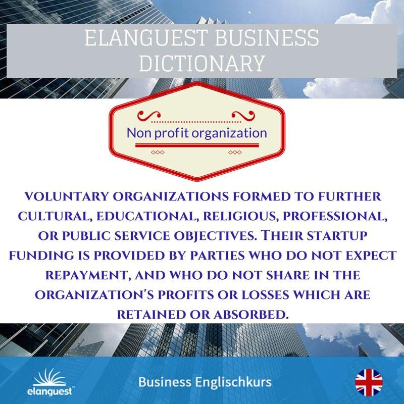Unser heutiges #Business Wort ist: Non Profit Organization, kurz ...