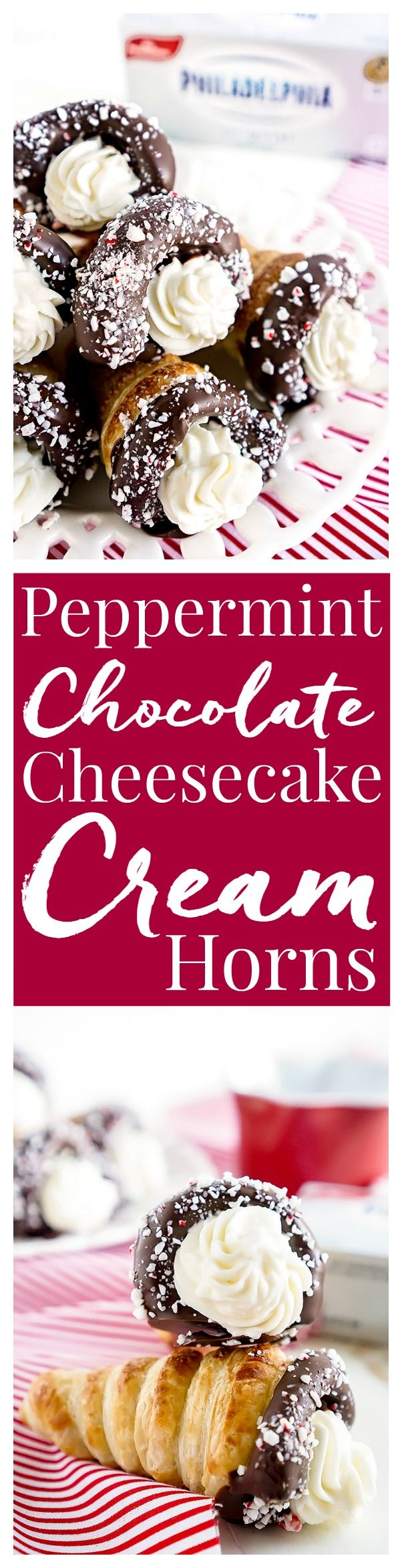 These Chocolate Peppermint Cheesecake Cream Horns are a simple dessert with a flaky pastry, chocolate, peppermint, and a peppermint cream cheese filling. #OneAndOnlyPhilly #HolidaysAreMadeWith #ad @spreadphilly #creamhorns