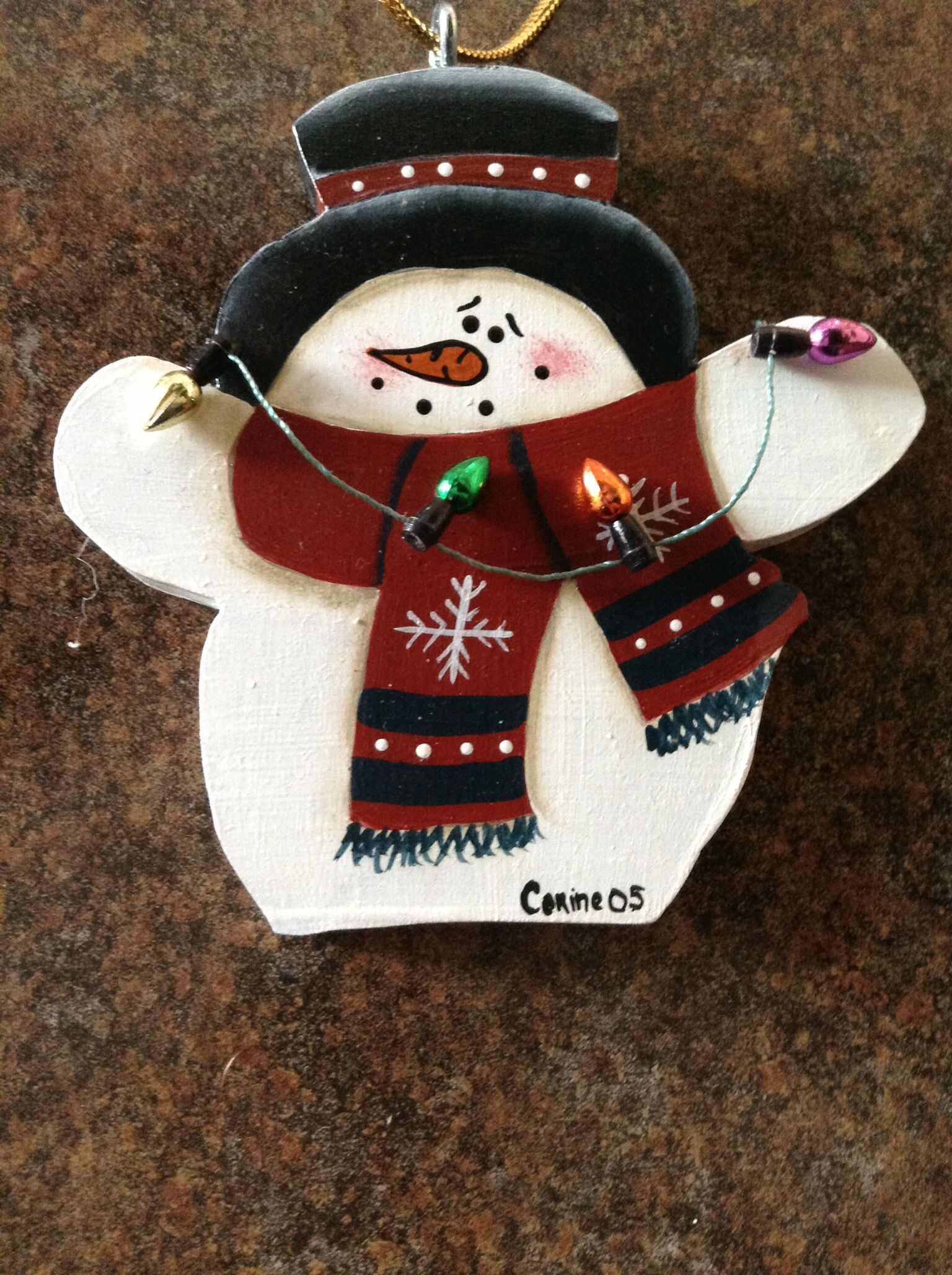 Snowman Ornament. Tole painting. Christmas crafts