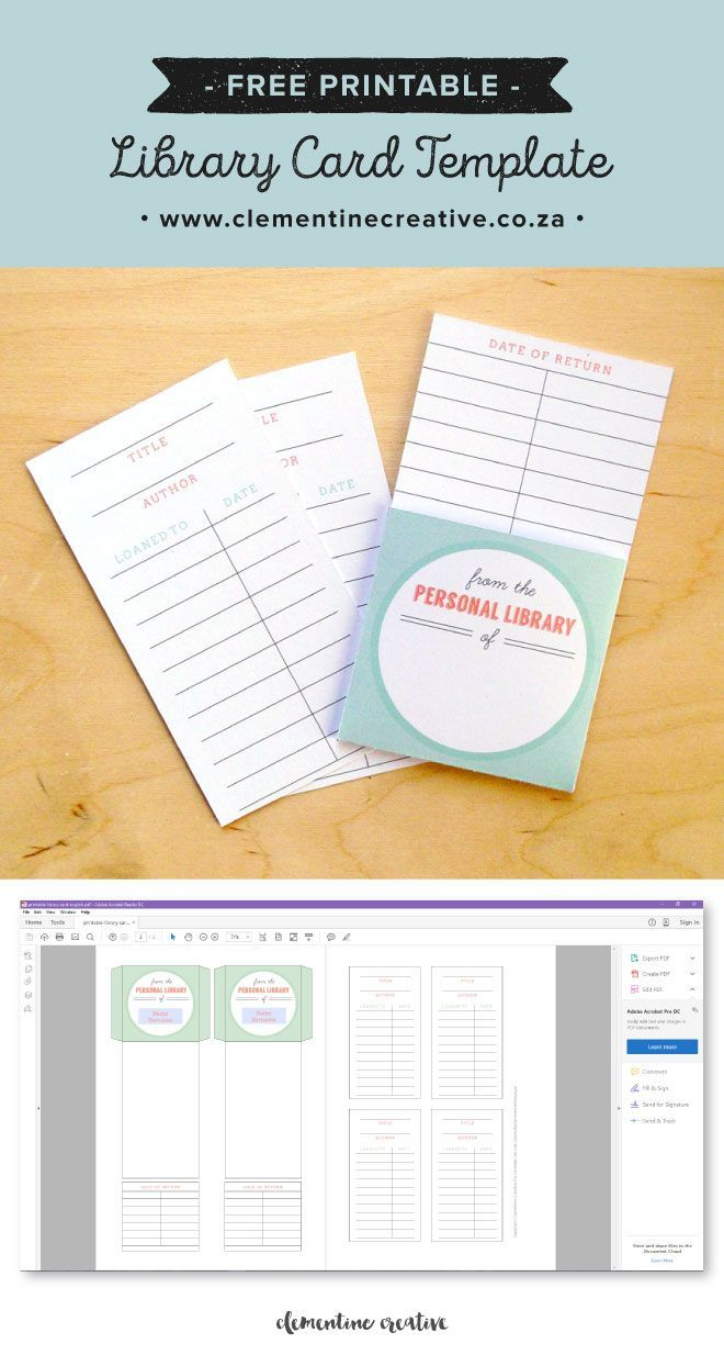 Free Printable Library Cards