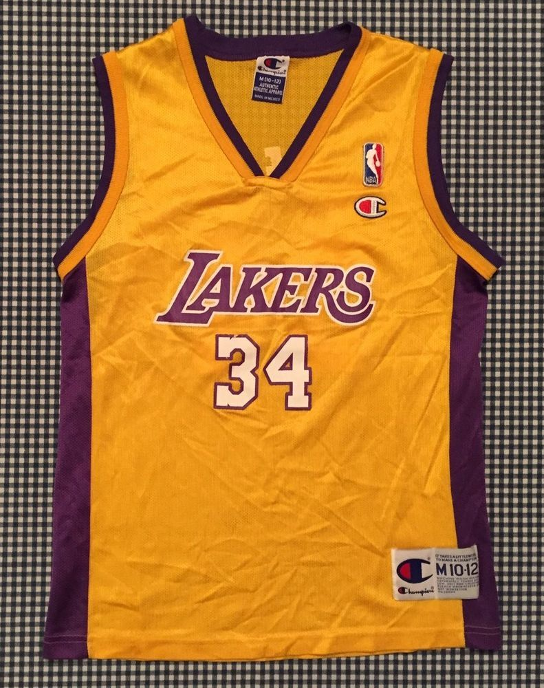 Los angeles lakers cheap nfl elite jerseys mlb coolbase jerseys nba - Vintage Shaquille O Neal Los Angeles Lakers Champion Replica Jersey Size Youth