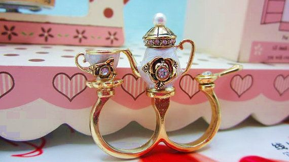 unique personalized double fingers ring retro teapot cup set ring color glaze tackiness ring bridesmaids friendship love gifts on Etsy, $5.99