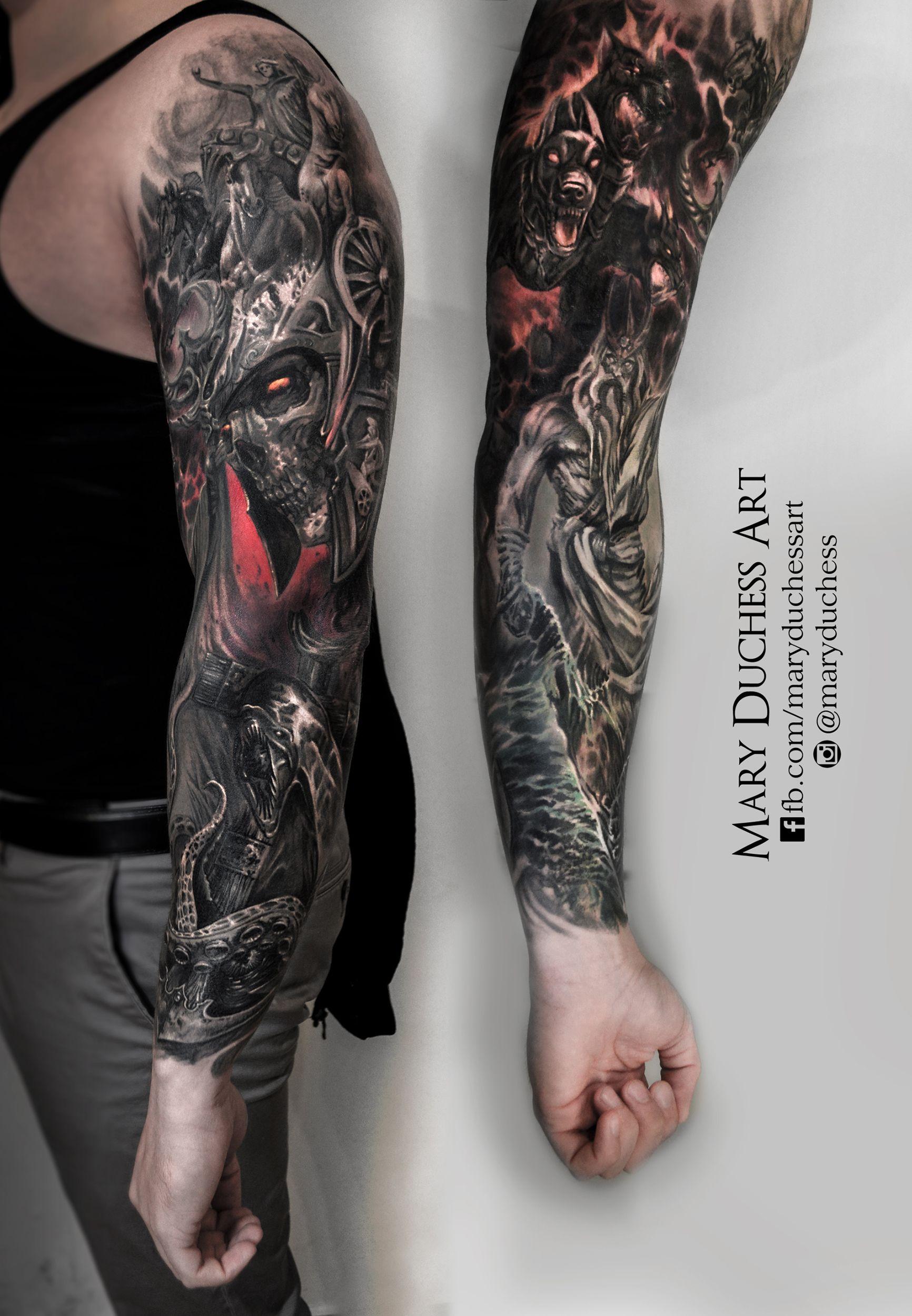Tattoo Tattoed Dark Fantasy Skull Skulltattoo Sleeve Mythology Zeus Poseidon Ancor Tattoosleeve Tatowierungen Biomechanic Tattoo Armeltatowierungen