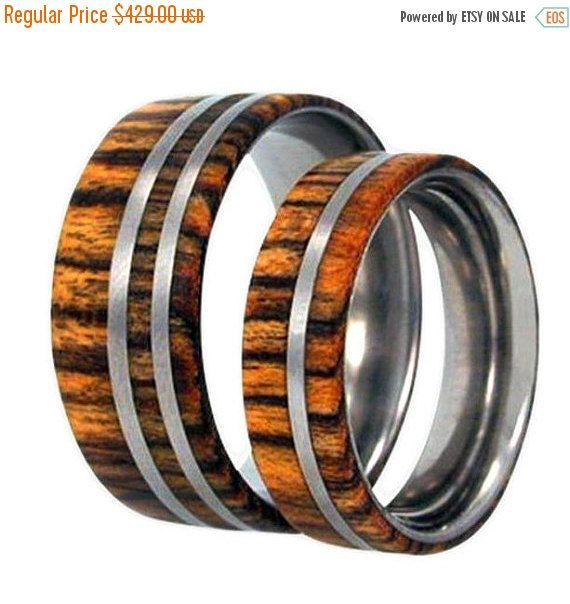 Wedding Sale Wood Wedding Band Set Mens Weddingband Womens Wedding