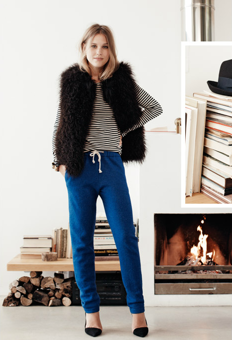 the mix of sweatpants, stripes, fur gilet and heels