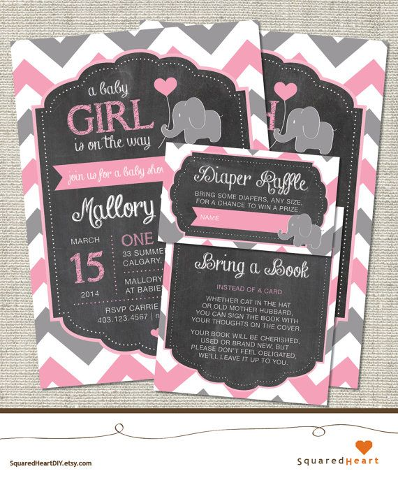 Elephant Baby Shower Ideas | Girl, Pink, Gray, Chevron | Elephant Printable  Baby