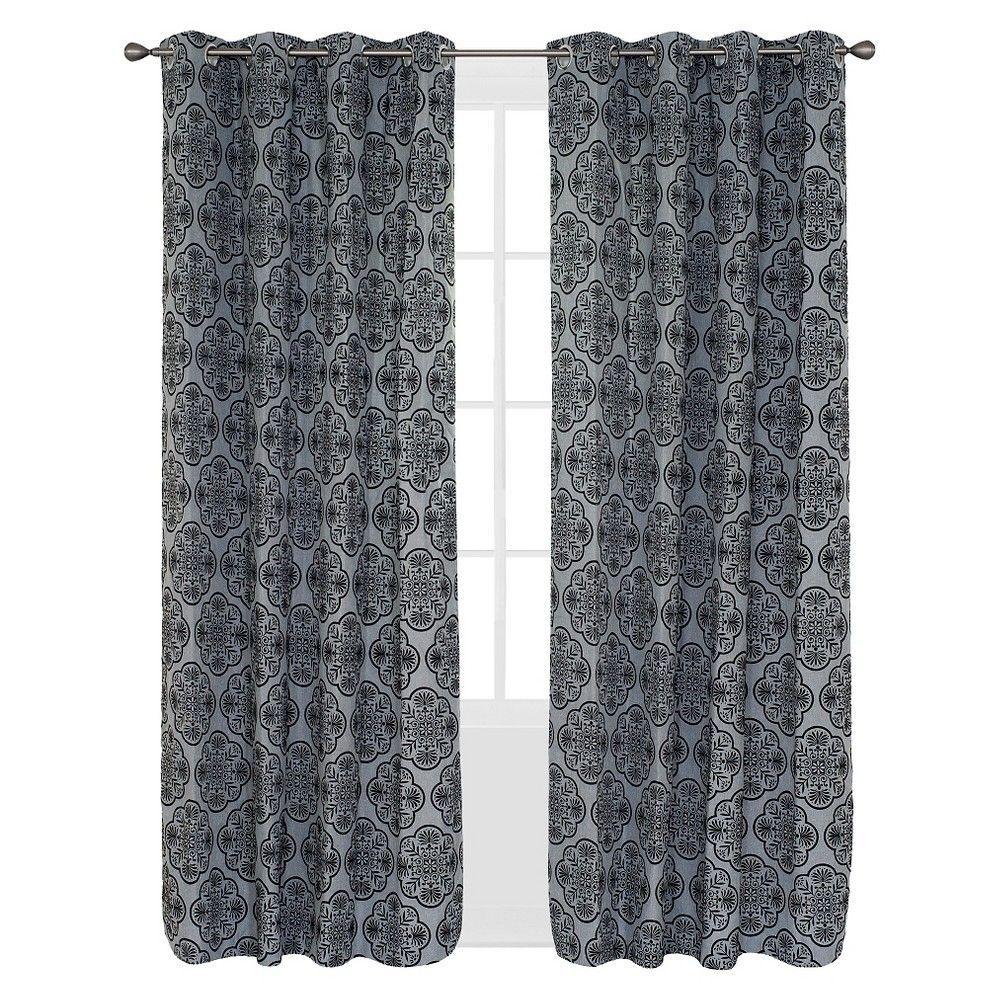 Yorkshire Home Dana Flocked Curtain Panel - 108 - Charcoal, Grey