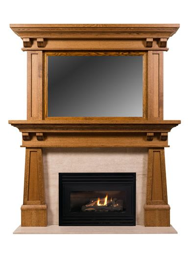 Arts and crafts mantels craftsman fireplace mantel for Craftsman gas fireplace