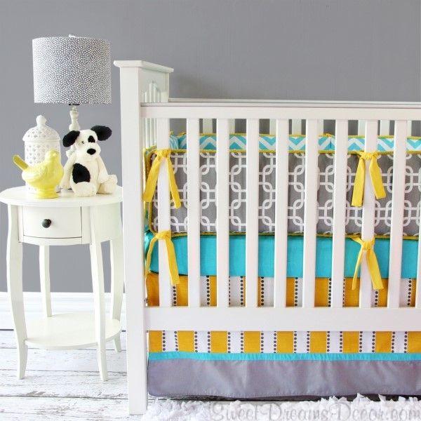 Bright Baby Gray Neutral Crib Bedding